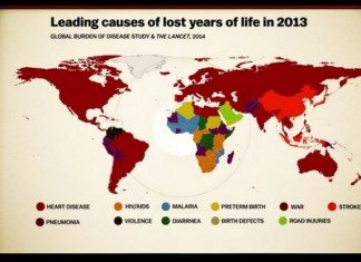 The years of lost life mapped
