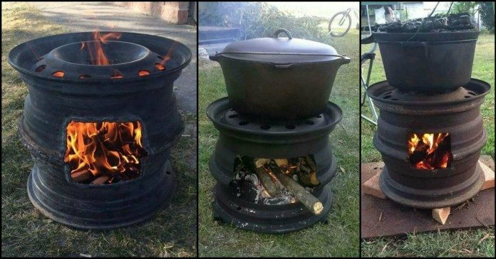 Outdoor Car Storage >> Recycled Tire Rim BBQ and Fire Pit