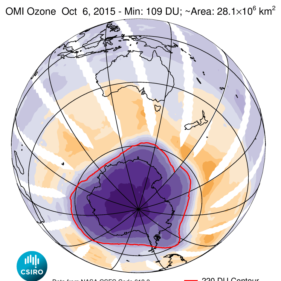 The 2015 ozone hole was the largest ever recorded despite the ban on ozone depleting chemicals back in 1987