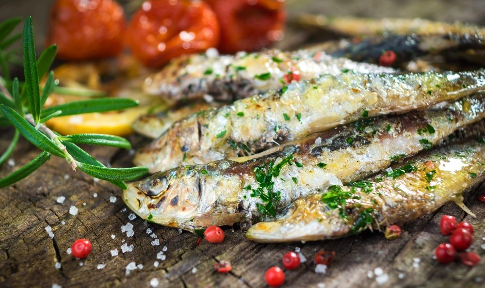 Grilled sardines - Mediterranean style are rich in essential fatty acids