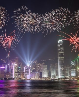 Hong Kong celebrates after winning the title of the world's most expensive city :)))