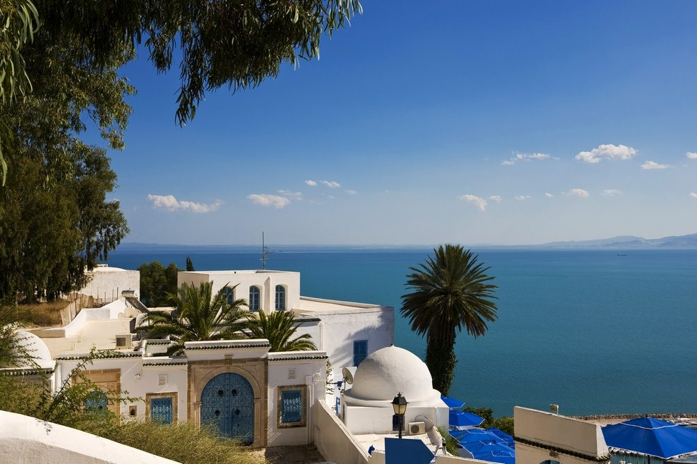 A view over the Mediterranean from Sidi Bou Said in Tunisia, a country full of major historical sites.