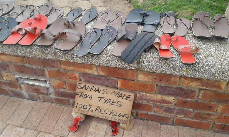 Sandals made from discarded tyres