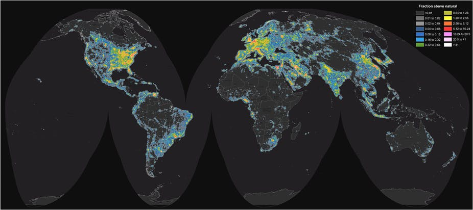 World map of artificial sky brightness. F. Falchi, et al. Science Advances (2016), CC BY-NC