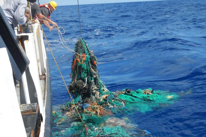 Our oceans are full of plastic and it's ending up in the food chain. A ghost net is hauled aboard the research vessel. Photo credit: The Ocean Cleanup Foundation