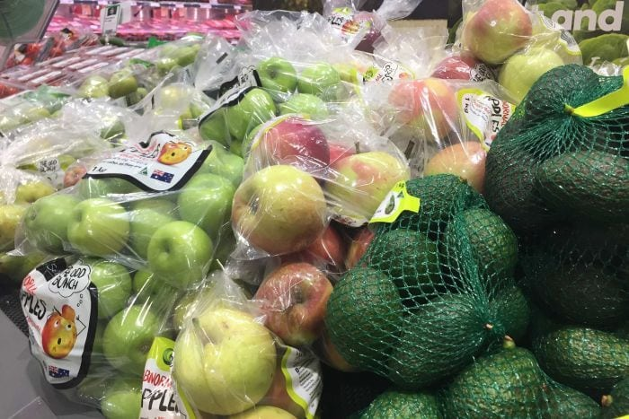 Many supermarket sold fruits and vegetables are pre-packed in plastic bags or plastic netting.