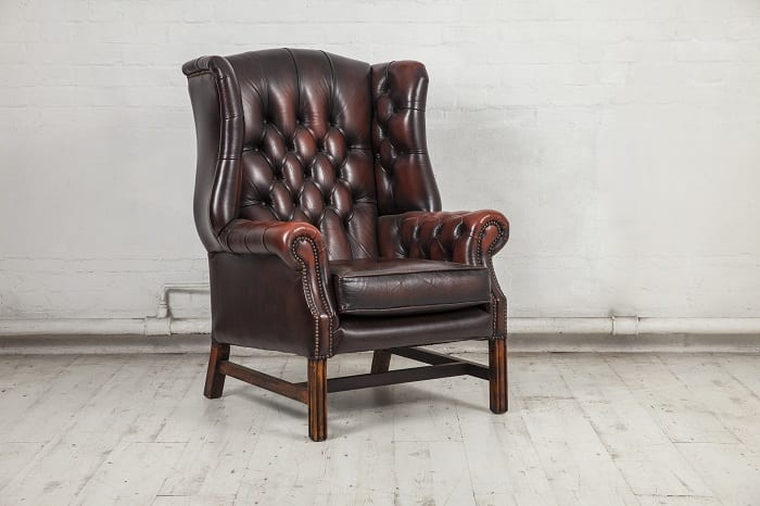 Most Chesterfield chairs come with leather upholstery.