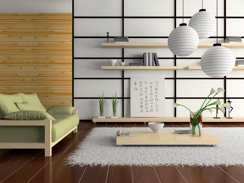 The Japanese style emphasizes symmetry with rich contrasts of dark and light areas in a room.