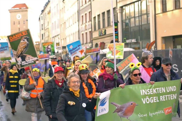 "The ""Save the Bees"" protest in Munich, which used bees for marketing but was about biodiversity as a whole."