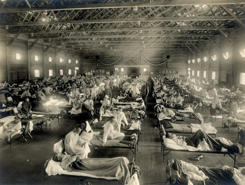In early 1918, Spanish flu infected a large number of men at Camp Funston, an Army base in Kansas.