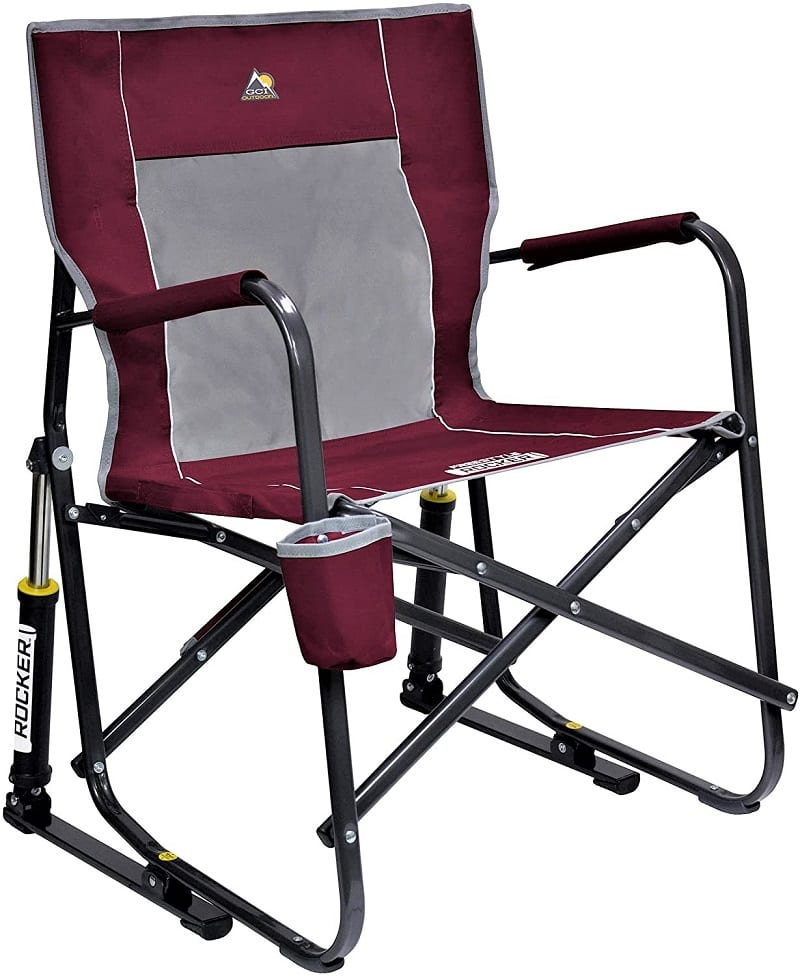The GCI rocking chair's unique design has a hydraulic rocking system and padded solid armrests.