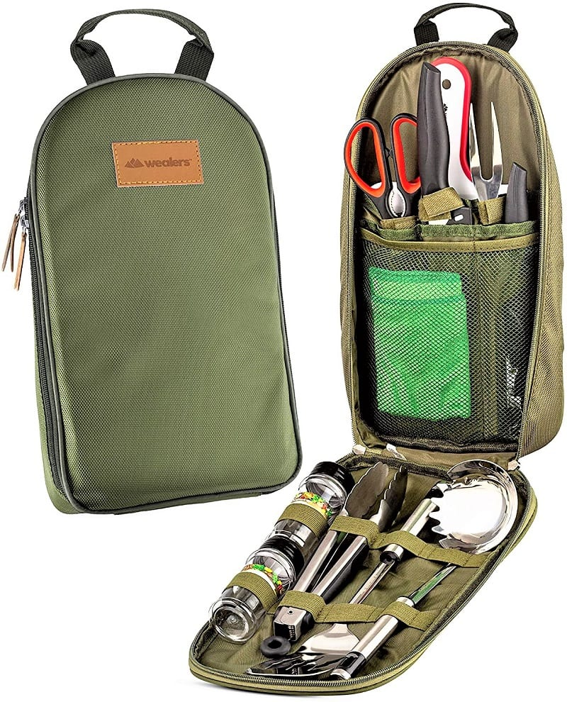The compact and durable Camp Kitchen Utensils Travel Kit has everything needed to charm you with convenience.