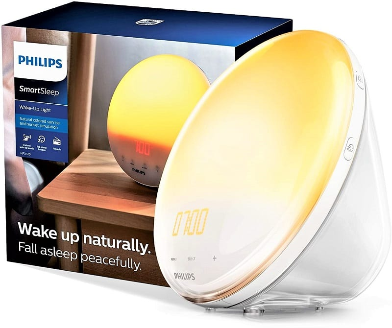 The Philips Wake-Up Light HF3520 starts with a more soothing red-tinted light that gradually turns bright white.