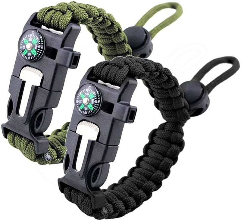 The Zhiye Survival Paracord Bracelet has features that will be useful if you get lost in an unfamiliar area.