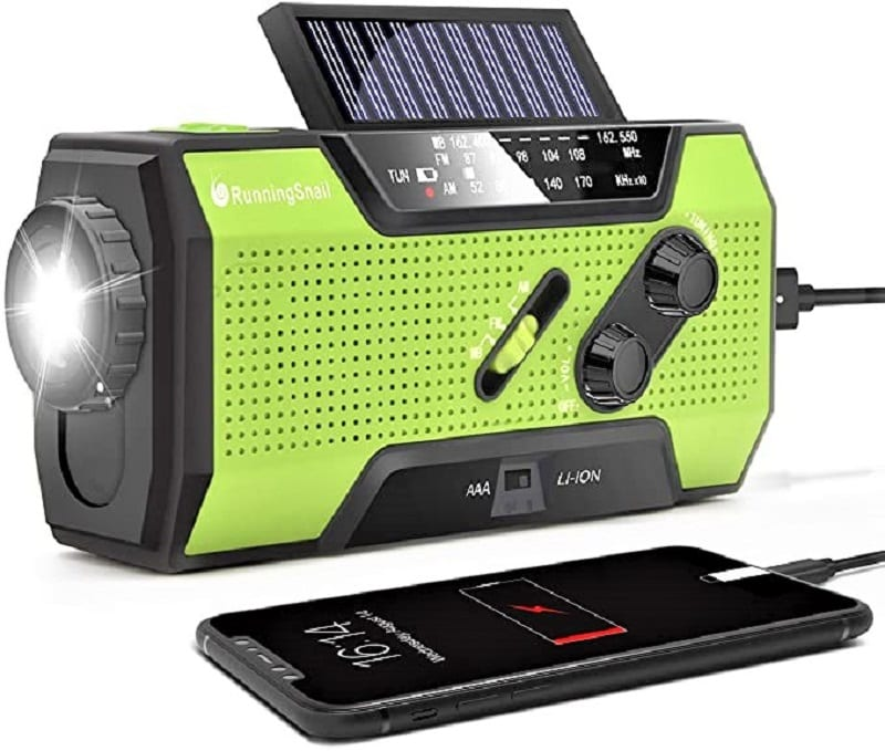 You'll need a multi-use hand crank and solar-powered radio.