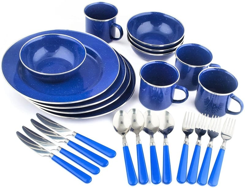 We tested several designs for picnic tableware, and Stansport's 24-piece enamel tableware set is our favorite.