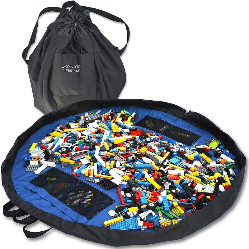The play-mat and storage-bag Lay-n-Go Building Block Mat solves a lot of problems, specifically for Legos.