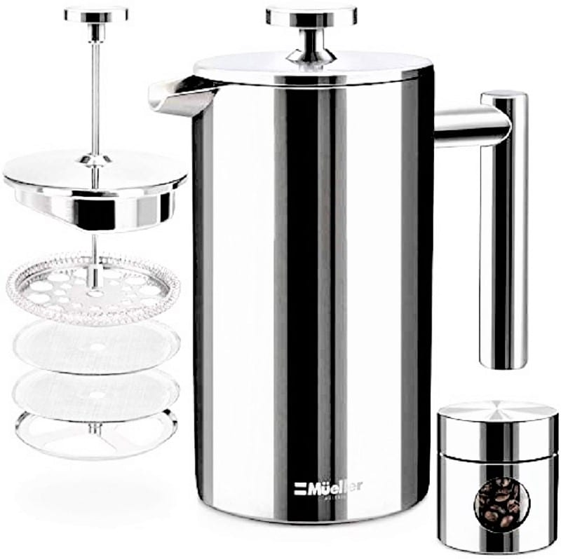 The Mueller Double Insulated Stainless Steel French Press is a stylish coffee maker with a good, solid base.