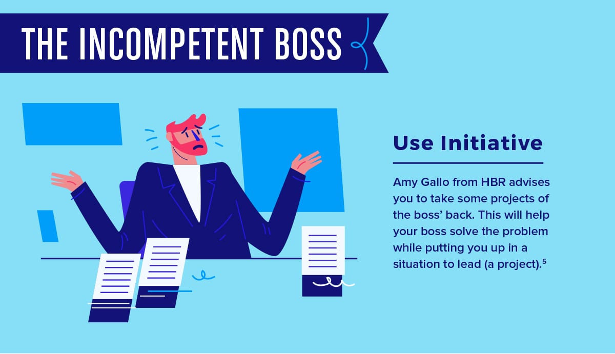 When dealing with an incompetent boss, take every opportunity to subtly lead.