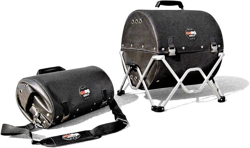 The GoBQ is a transportable charcoal grill made of flame-resistant fabric that folds into a tubular carrying case.